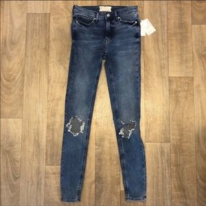 Free People Turqouose skinny jeans size 26 NWT
